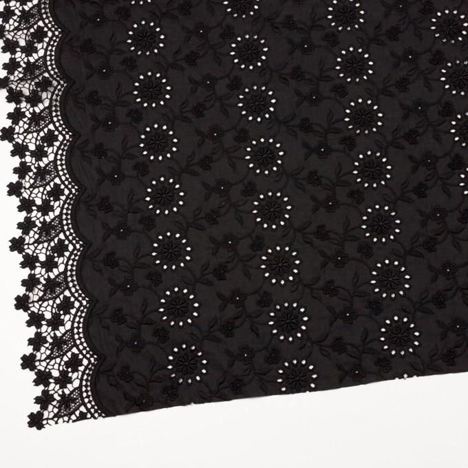 コットン×フラワー(ブラック)×ローンモチーフレース_全2色 イメージ2