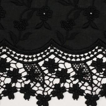 コットン×フラワー(ブラック)×ローンモチーフレース_全2色 サムネイル1