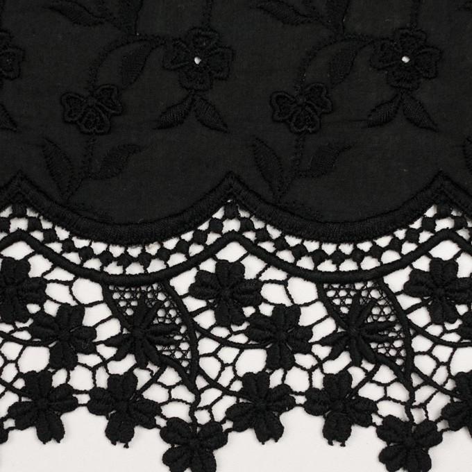 コットン×フラワー(ブラック)×ローンモチーフレース_全2色 イメージ1