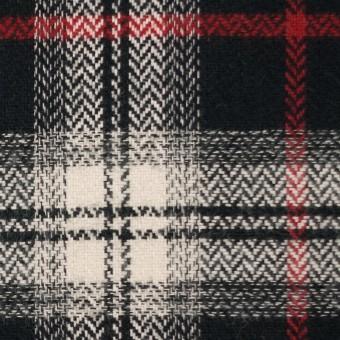 コットン×チェック(キナリ、レッド&ブラック)×ヘリンボーン