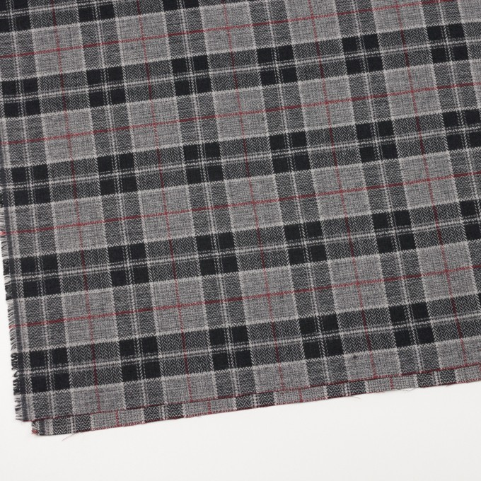 コットン×チェック(レッド、ブラック&グレー)×ヘリンボーン イメージ2