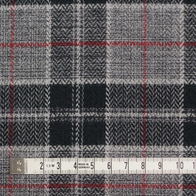 コットン×チェック(レッド、ブラック&グレー)×ヘリンボーン イメージ4