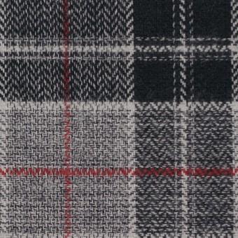 コットン×チェック(レッド、ブラック&グレー)×ヘリンボーン サムネイル1