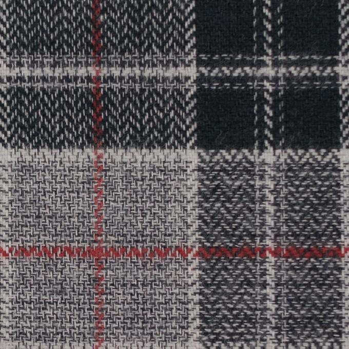 コットン×チェック(レッド、ブラック&グレー)×ヘリンボーン イメージ1