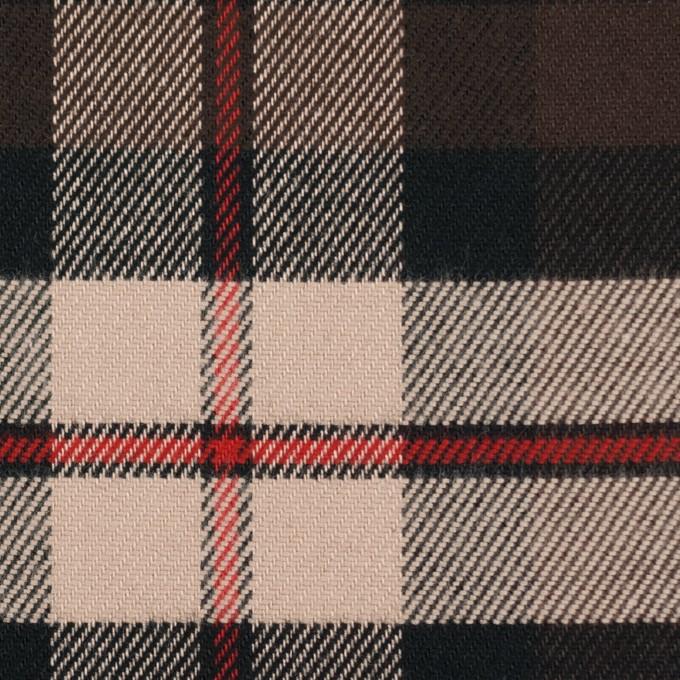 コットン×チェック(ウォームベージュ、レッド&ブラウン)×ビエラ イメージ1