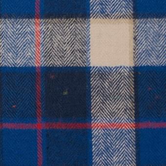 コットン&ポリウレタン×チェック(ベージュ&ブルー)×ヘリンボーン
