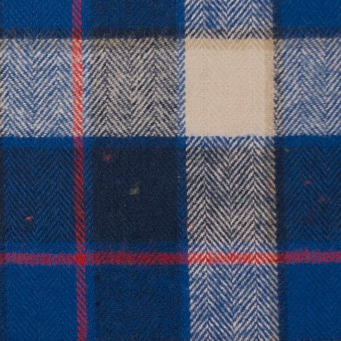 コットン&ポリウレタン×チェック(ベージュ&ブルー)×ヘリンボーン イメージ1