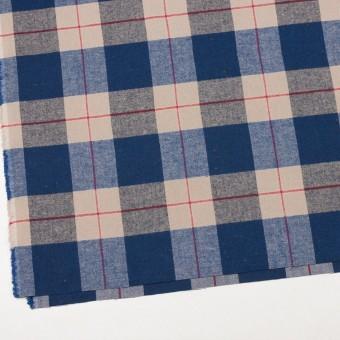 コットン&ポリウレタン×チェック(ベージュ&ブルー)×ヘリンボーン_全2色 サムネイル2
