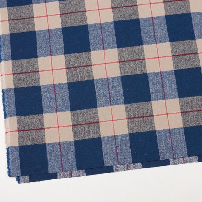 コットン&ポリウレタン×チェック(ベージュ&ブルー)×ヘリンボーン_全2色 イメージ2