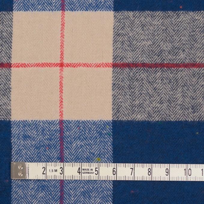 コットン&ポリウレタン×チェック(ベージュ&ブルー)×ヘリンボーン_全2色 イメージ4