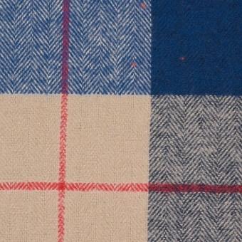 コットン&ポリウレタン×チェック(ベージュ&ブルー)×ヘリンボーン_全2色