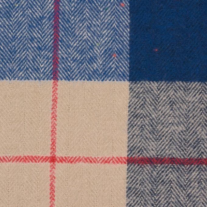 コットン&ポリウレタン×チェック(ベージュ&ブルー)×ヘリンボーン_全2色 イメージ1