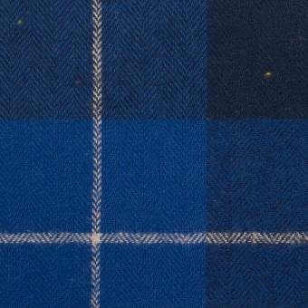 コットン&ポリウレタン×チェック(ブルー&ネイビー)×ヘリンボーン_全2色