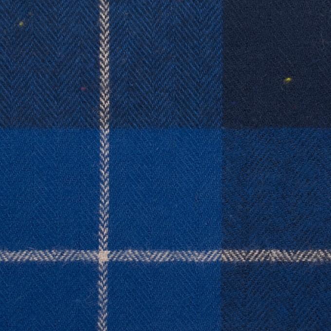 コットン&ポリウレタン×チェック(ブルー&ネイビー)×ヘリンボーン_全2色 イメージ1