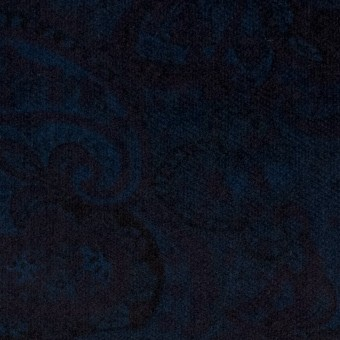 コットン&ポリウレタン×ペイズリー(ダークネイビー)×ベッチンストレッチ