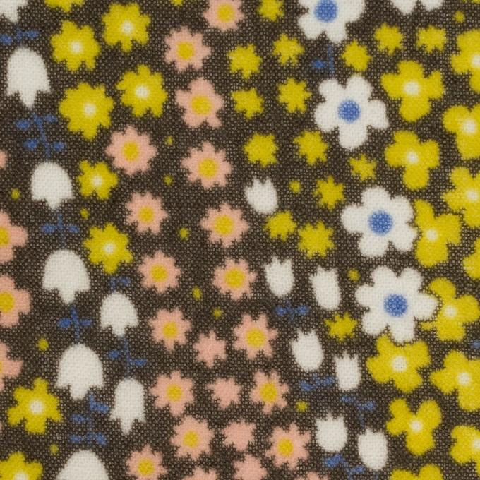 ウール×フラワー(シトラス、サーモンピンク&カーキブラウン)×ガーゼ イメージ1
