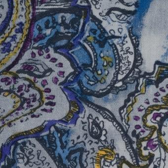ウール×ペイズリー(ブルーミックス)×サージ サムネイル1