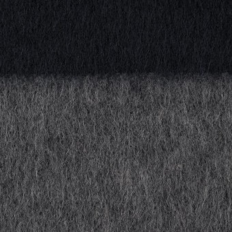 ウール&ポリエステル混×ボーダー(グレー&ダークネイビー)×シャギー