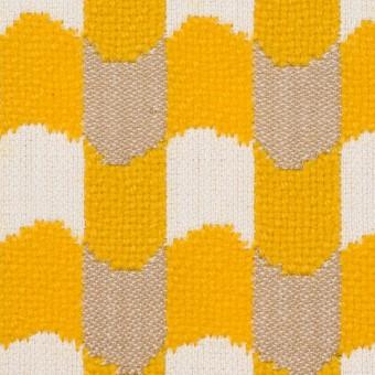 ウール&コットン×幾何学模様(オフホワイト、ベージュ&イエロー)×風通織