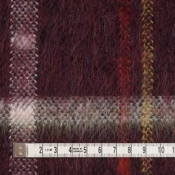 ポリエステル&モヘア混×チェック(ガーネット)×シャギーニット_全2色 サムネイル4