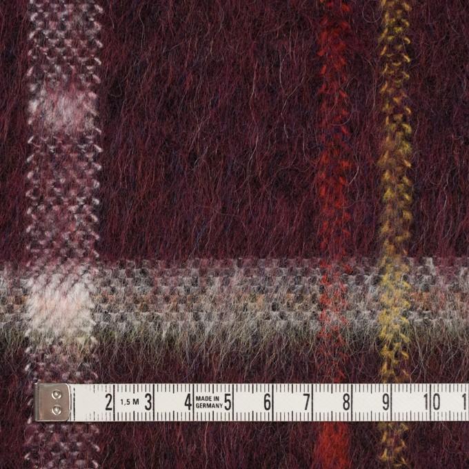 ポリエステル&モヘア混×チェック(ガーネット)×シャギーニット_全2色 イメージ4