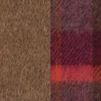 ウール&アルパカ混×無地(ブラウン)&チェック(マルチ)×ビーバー&カルゼ