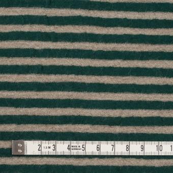 ウール&コットン×ボーダー(モスグリーン&サンドベージュ)×天竺ニット_全5色 サムネイル4