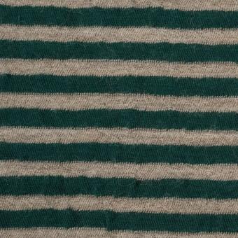 ウール&コットン×ボーダー(モスグリーン&サンドベージュ)×天竺ニット_全5色 サムネイル1