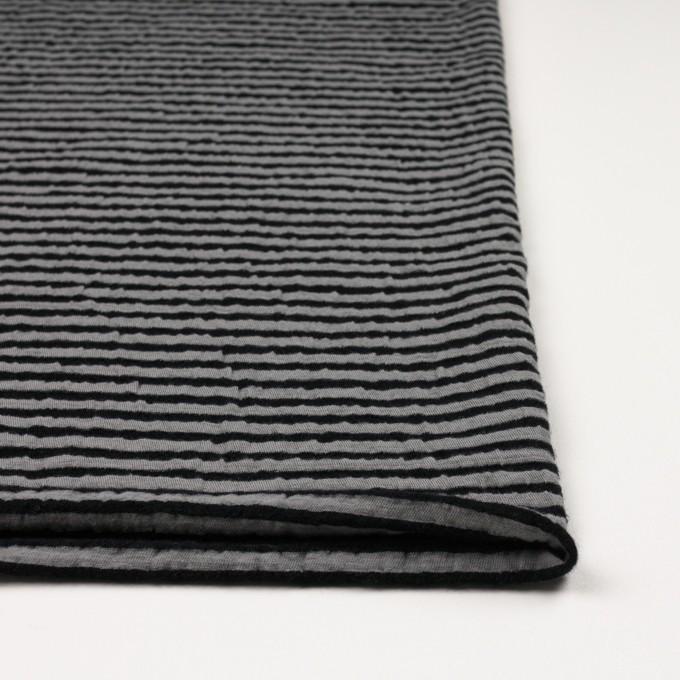 ウール&コットン×ボーダー(ブラック&グレー)×天竺ニット_全5色 イメージ3