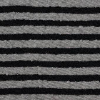 ウール&コットン×ボーダー(ブラック&グレー)×天竺ニット_全5色 サムネイル1