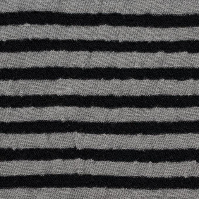 ウール&コットン×ボーダー(ブラック&グレー)×天竺ニット_全5色 イメージ1