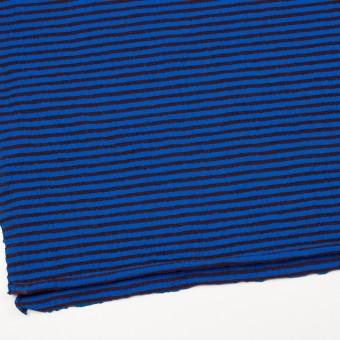 ウール&コットン×ボーダー(ダークブラウン&マリンブルー)×天竺ニット_全5色 サムネイル2