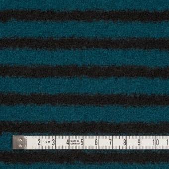 ウール&アクリル混×ボーダー(ターコイズ&ブラック)×ループニット サムネイル4