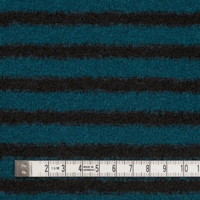 ウール&アクリル混×ボーダー(ターコイズ&ブラック)×ループニット イメージ4