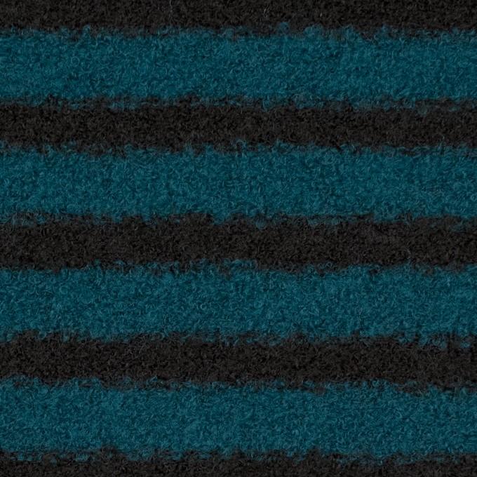 ウール&アクリル混×ボーダー(ターコイズ&ブラック)×ループニット イメージ1