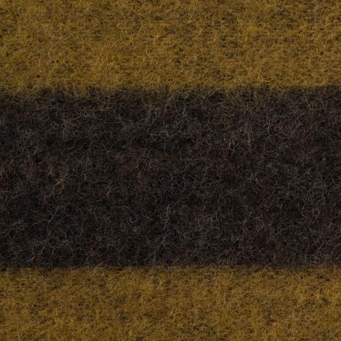 ポリエステル&ウール×ボーダー(マスタード&ブラウン)×メッシュニット イメージ1