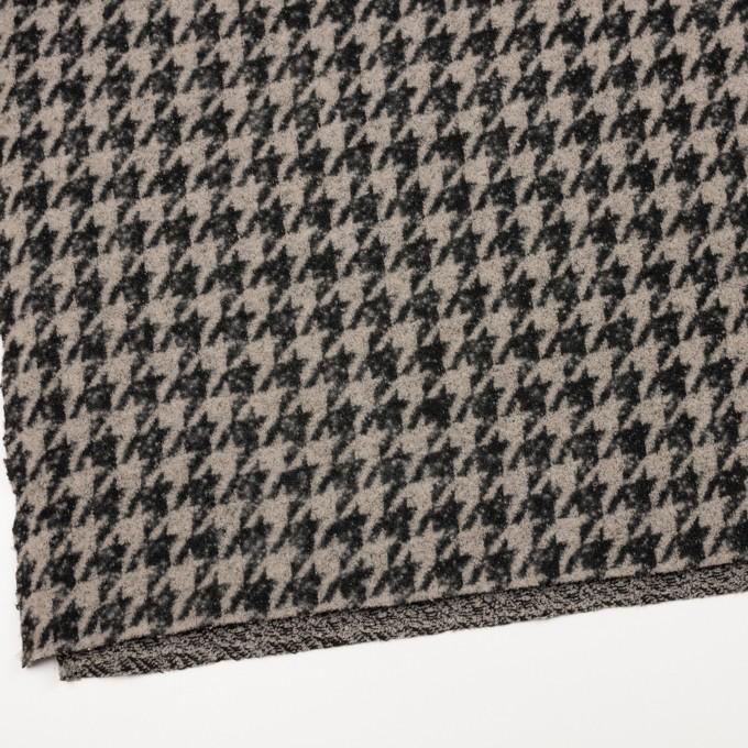 ウール&アクリル混×千鳥格子(グレイッシュベージュ&ブラック)×ループニット イメージ2