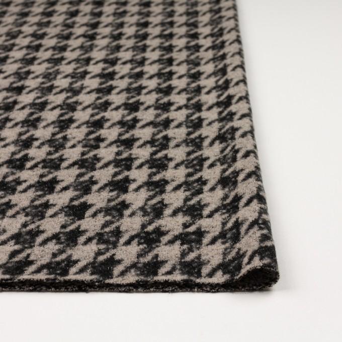 ウール&アクリル混×千鳥格子(グレイッシュベージュ&ブラック)×ループニット イメージ3