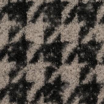 ウール&アクリル混×千鳥格子(グレイッシュベージュ&ブラック)×ループニット