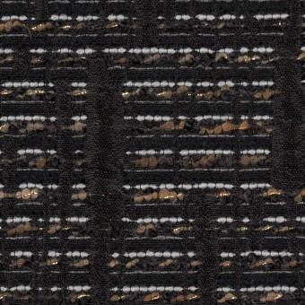 ポリエステル&レーヨン混×幾何学模様(モカ&ブラック)×ジャガード