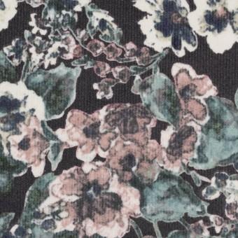 コットン&ポリウレタン×フラワー(グレイッシュピンク&ブラック)×細コーデュロイ・ストレッチ