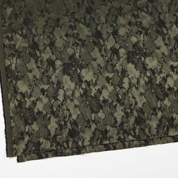 レーヨン&ウール混×幾何学模様(カーキグリーン&チャコール)×ジャガード イメージ2