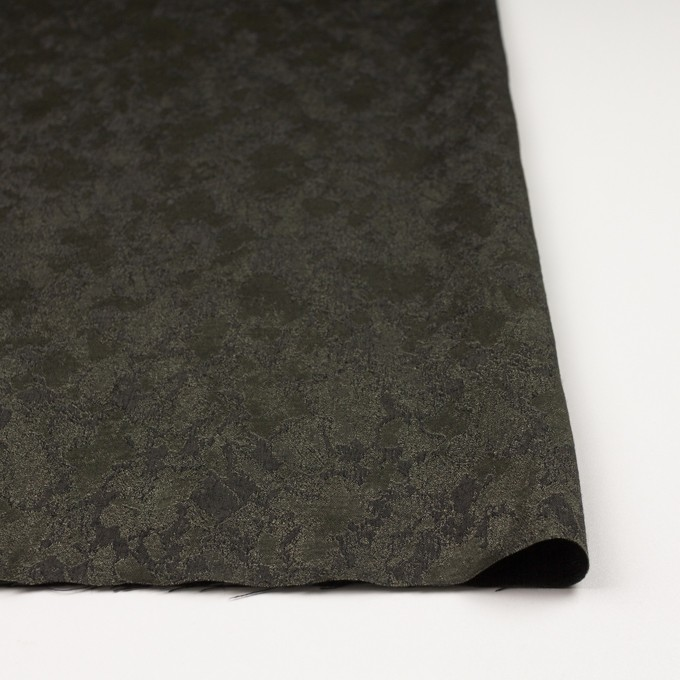 レーヨン&ウール混×幾何学模様(カーキグリーン&チャコール)×ジャガード イメージ3