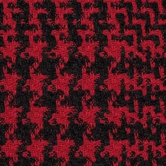 ウール&シルク×チェック(レッド&ブラック)×ジャガード