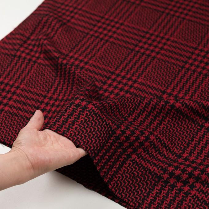 ウール&シルク×チェック(レッド&ブラック)×ジャガード イメージ5