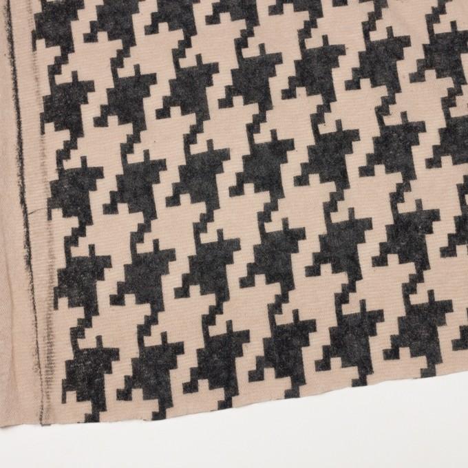 アクリル&ナイロン混×千鳥格子(ベージュ&ブラック)×メッシュニット_フロッキー イメージ2