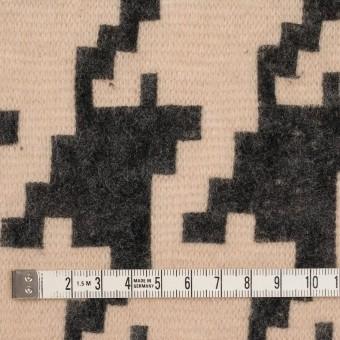 アクリル&ナイロン混×千鳥格子(ベージュ&ブラック)×メッシュニット_フロッキー サムネイル4
