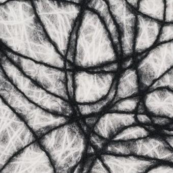 アクリル&ウール混×ライン(オフホワイト&ブラック)×不織布