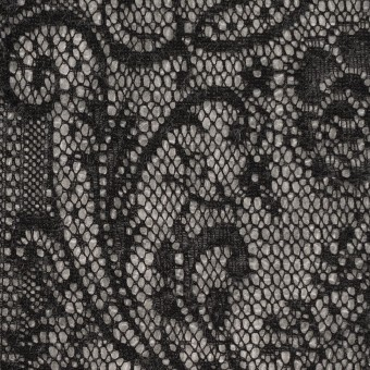 アクリル&ウール混×フラワー(ライトグレー&ブラック)×メッシュニット&ラッセルレース