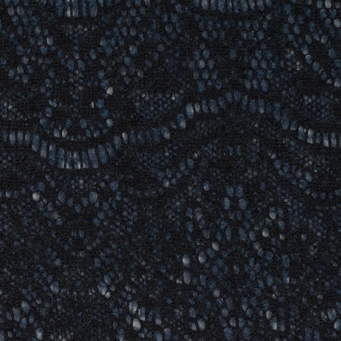 アクリル&ウール混×スカラップ(ネイビーブルー&ブラック)×メッシュニット&ラッセルレース イメージ1